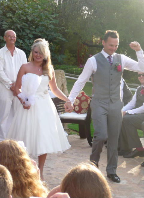 Pic: Bride& Groom simply danced down the aisle at Atzaro!