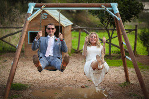 Pic: Just married - on kids swings